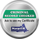 LIV for PETS Dog Walking and Pet Sitting in Slip End Harpenden Caddington and Markyate - Narps Criminal Record Checked Image - Silver and Green badge with text, Criminal record checked