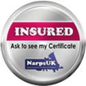 LIV for PETS Dog Walking and Pet Sitting in Slip End Harpenden Caddington and Markyate - Narps Pet Related Certificate Image - Silver & purple badge with text Insured ask to see my certificate