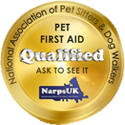 LIV for PETS Dog Walking and Pet Sitting in Slip End Harpenden Caddington and Markyate - Narps Pet Related Certificate Image - Gold badge with text Pet first aid trained qualified ask to see it